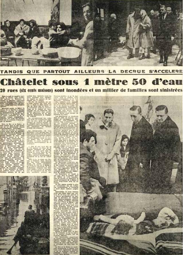 4. Article de La Meuse du 3 février 1961 concernant des inondations à Châtelet (Province de Liège. Musée de la Vie wallonne).