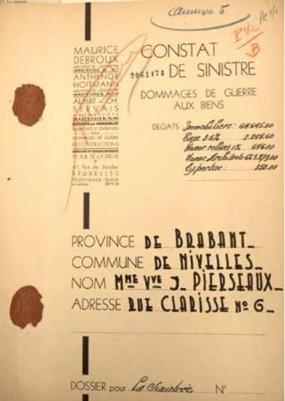 6. Dossier de demande d'indemnisation d'une maison située à Nivelles