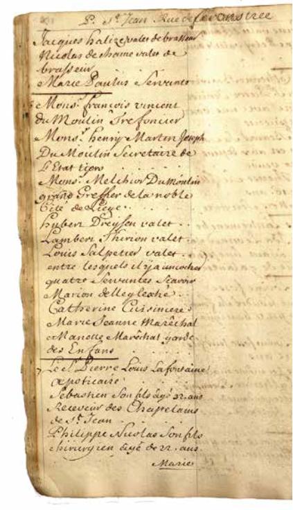 9. Dénombrement des habitants de la paroisse SaintJeanBaptiste à Liège en 1736 (A. É.Liège, États du pays de Liège et comté de Looz).